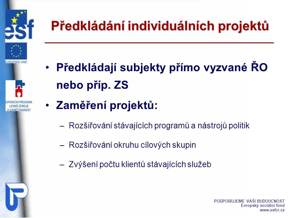 Projekty jsou předkládány k posouzení vyhlašovateli výzvy Musí být vyplněny v předepsaném formuláři V případě uzavřené výzvy – ke stanovenému datu V případě průběžné výzvy – kdykoliv po vyhlášení do vyčerpání disponibilní částky Předkládání individuálních projektů PODPORUJEME VAŠI BUDOUCNOST Evropský sociální fond www.esfcr.cz