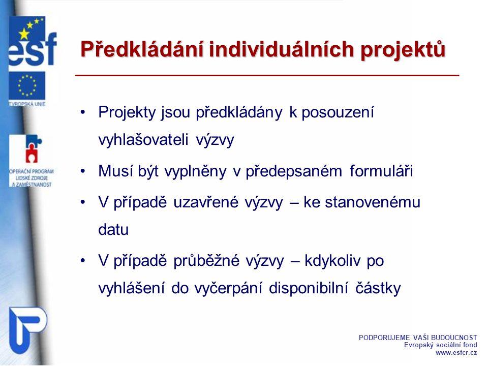 Projekty jsou předkládány k posouzení vyhlašovateli výzvy Musí být vyplněny v předepsaném formuláři V případě uzavřené výzvy – ke stanovenému datu V p