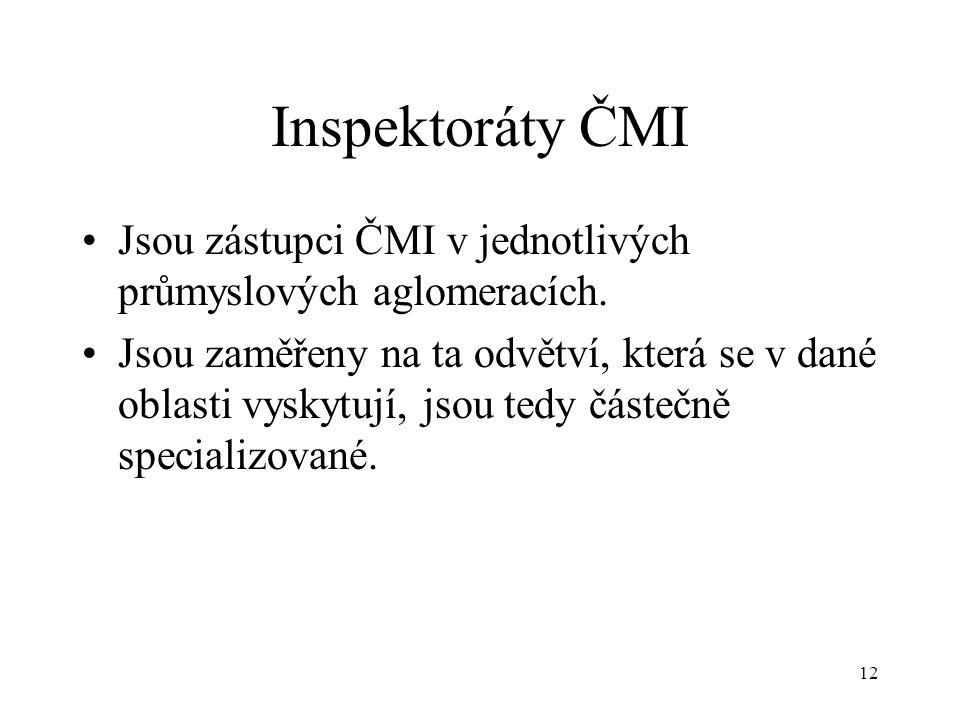 12 Inspektoráty ČMI Jsou zástupci ČMI v jednotlivých průmyslových aglomeracích.