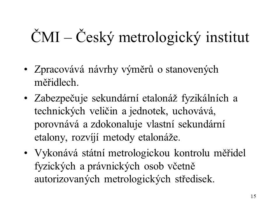 15 ČMI – Český metrologický institut Zpracovává návrhy výměrů o stanovených měřidlech.
