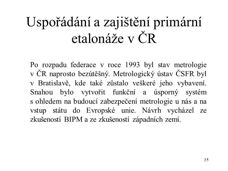 35 Uspořádání a zajištění primární etalonáže v ČR Po rozpadu federace v roce 1993 byl stav metrologie v ČR naprosto bezútěšný.