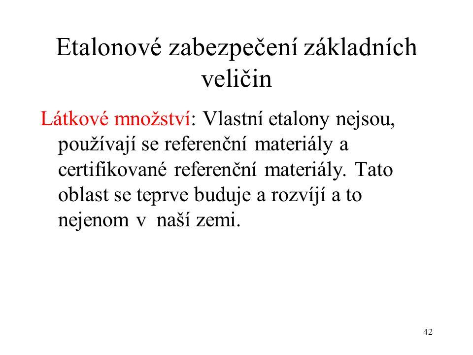 42 Etalonové zabezpečení základních veličin Látkové množství: Vlastní etalony nejsou, používají se referenční materiály a certifikované referenční materiály.