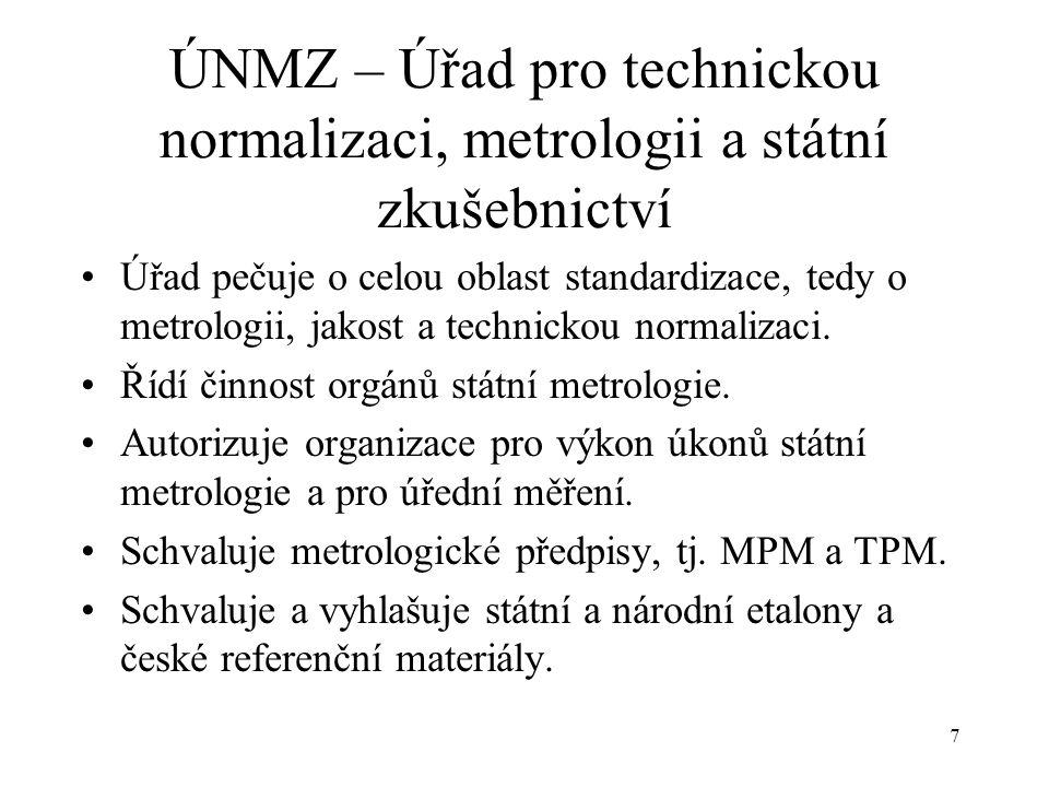 7 ÚNMZ – Úřad pro technickou normalizaci, metrologii a státní zkušebnictví Úřad pečuje o celou oblast standardizace, tedy o metrologii, jakost a technickou normalizaci.