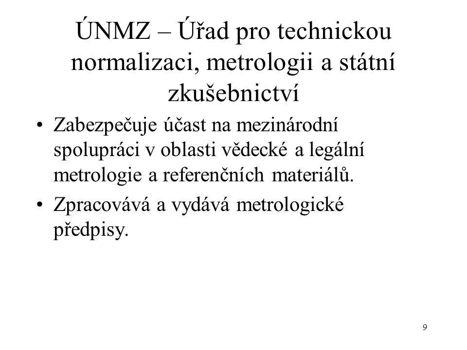 9 ÚNMZ – Úřad pro technickou normalizaci, metrologii a státní zkušebnictví Zabezpečuje účast na mezinárodní spolupráci v oblasti vědecké a legální metrologie a referenčních materiálů.