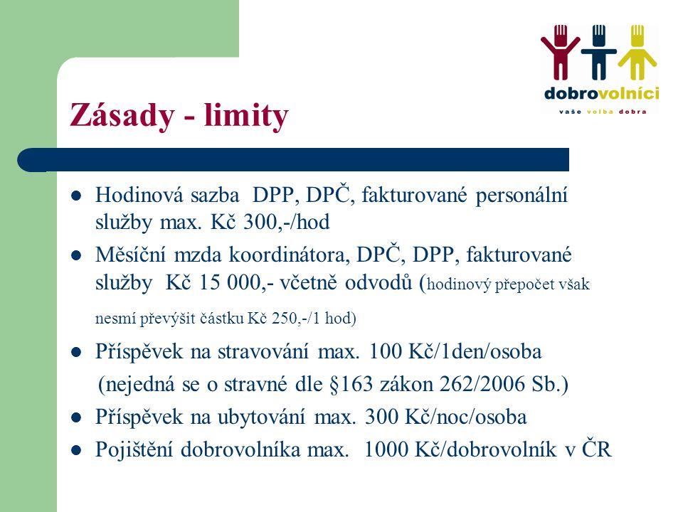 Zásady - limity Hodinová sazba DPP, DPČ, fakturované personální služby max. Kč 300,-/hod Měsíční mzda koordinátora, DPČ, DPP, fakturované služby Kč 15