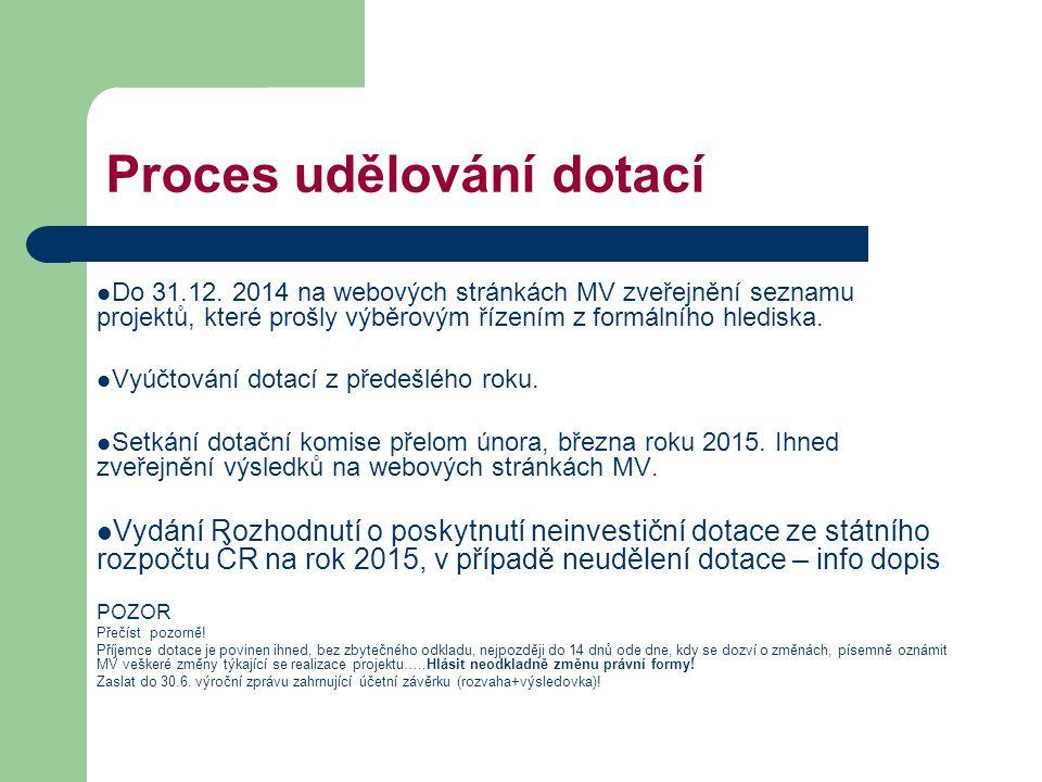 Proces udělování dotací Do 31.12. 2014 na webových stránkách MV zveřejnění seznamu projektů, které prošly výběrovým řízením z formálního hlediska. Vyú
