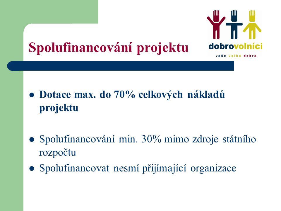 Spolufinancování projektu Dotace max. do 70% celkových nákladů projektu Spolufinancování min. 30% mimo zdroje státního rozpočtu Spolufinancovat nesmí