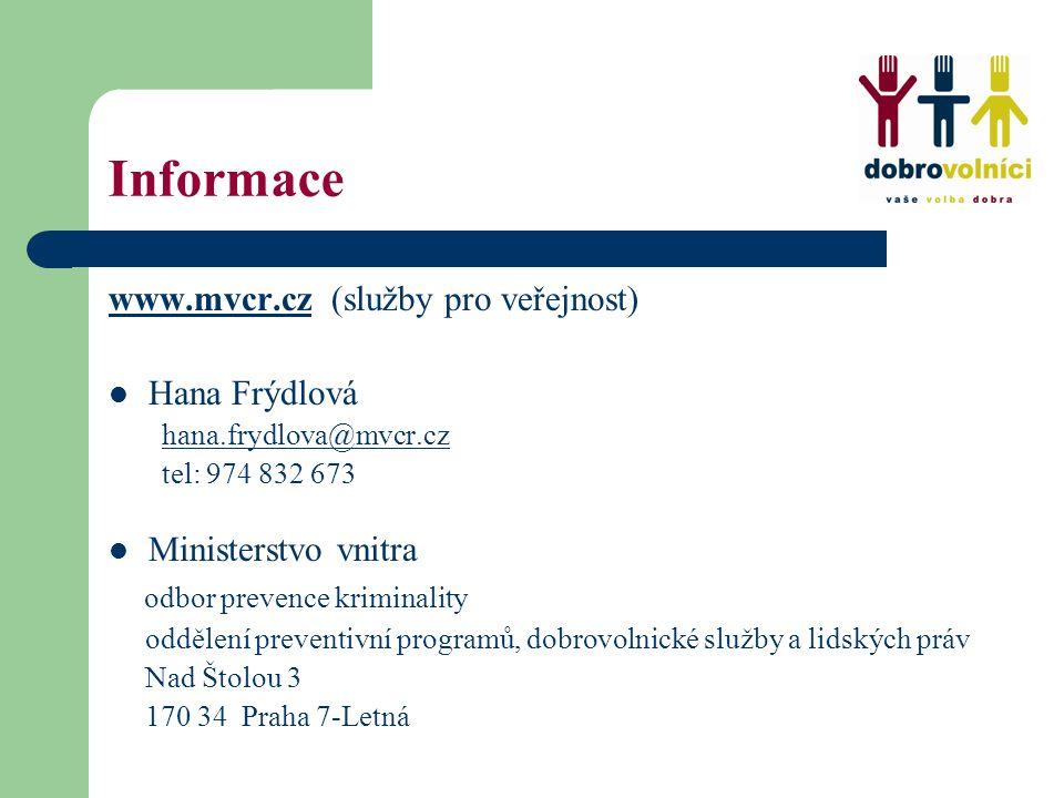 Informace www.mvcr.czwww.mvcr.cz (služby pro veřejnost) Hana Frýdlová hana.frydlova@mvcr.cz@mvcr.cz tel: 974 832 673 Ministerstvo vnitra odbor prevenc