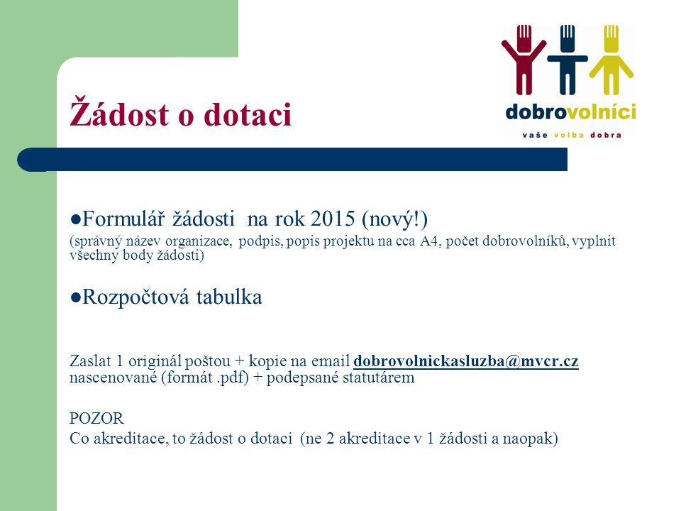 Žádost o dotaci Formulář žádosti na rok 2015 (nový!) (správný název organizace, podpis, popis projektu na cca A4, počet dobrovolníků, vyplnit všechny