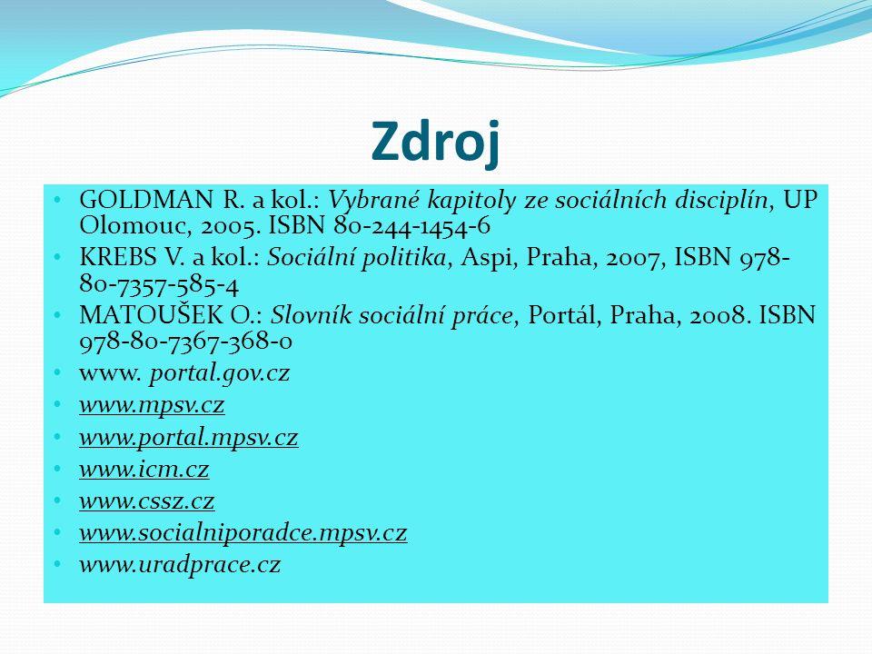 Zdroj GOLDMAN R. a kol.: Vybrané kapitoly ze sociálních disciplín, UP Olomouc, 2005.