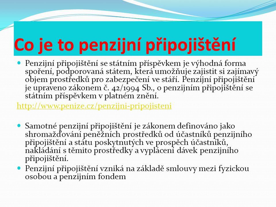 Dávky penzijního připojištění Z penzijního připojištění se poskytují tyto dávky: penze jednorázové vyrovnání odbytné.