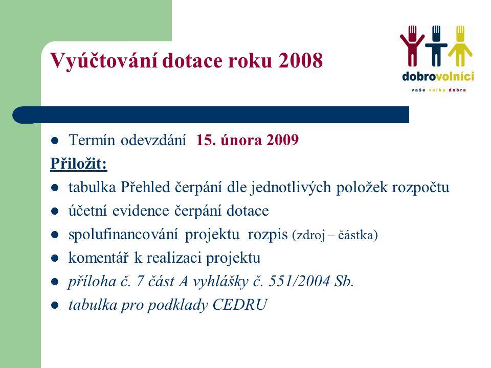 Vyúčtování dotace roku 2008 Termín odevzdání 15.
