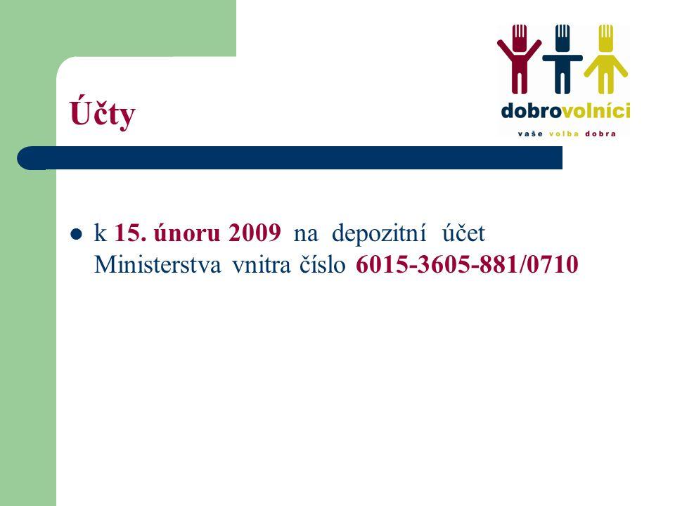 Účty k 15. únoru 2009 na depozitní účet Ministerstva vnitra číslo 6015-3605-881/0710