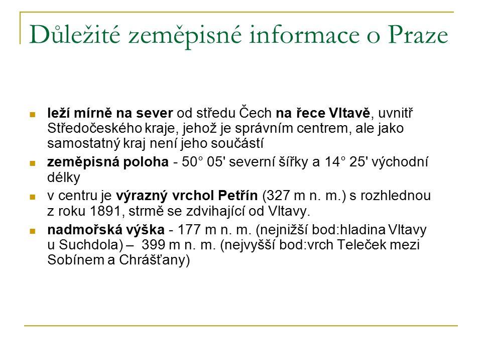 Důležité zeměpisné informace o Praze leží mírně na sever od středu Čech na řece Vltavě, uvnitř Středočeského kraje, jehož je správním centrem, ale jako samostatný kraj není jeho součástí zeměpisná poloha - 50° 05 severní šířky a 14° 25 východní délky v centru je výrazný vrchol Petřín (327 m n.
