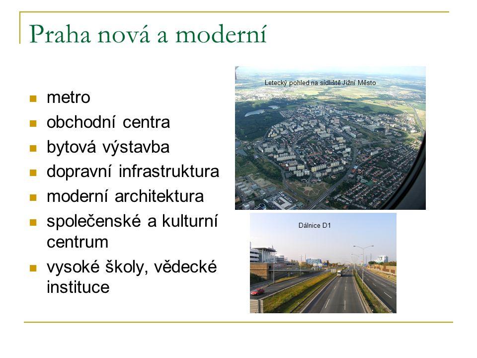 Praha nová a moderní metro obchodní centra bytová výstavba dopravní infrastruktura moderní architektura společenské a kulturní centrum vysoké školy, vědecké instituce Letecký pohled na sídliště Jižní Město Dálnice D1