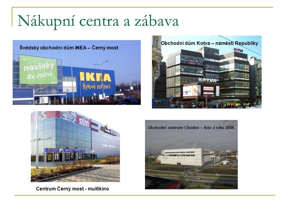 Nákupní centra a zábava Švédský obchodní dům IKEA – Černý most Obchodní dům Kotva – náměstí Republiky Centrum Černý most - multikino Obchodní centrum Chodov – foto z roku 2006