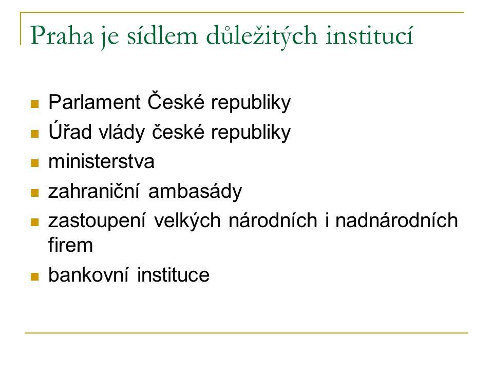 Praha je sídlem důležitých institucí Parlament České republiky Úřad vlády české republiky ministerstva zahraniční ambasády zastoupení velkých národních i nadnárodních firem bankovní instituce