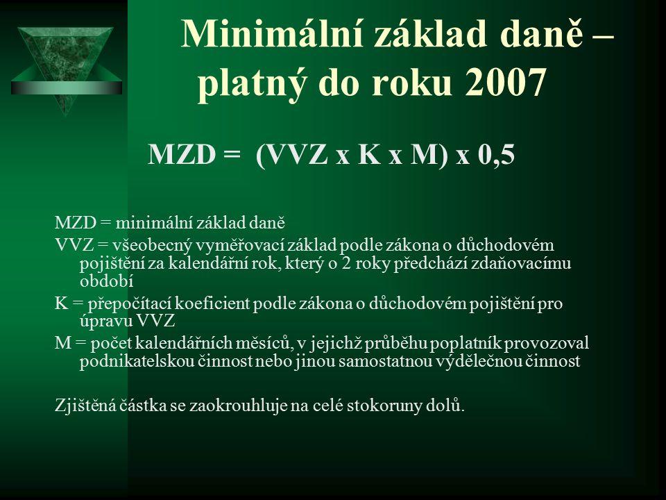 Minimální základ daně – platný do roku 2007 MZD = (VVZ x K x M) x 0,5 MZD = minimální základ daně VVZ = všeobecný vyměřovací základ podle zákona o důc