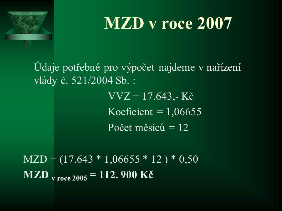 MZD v roce 2007 Údaje potřebné pro výpočet najdeme v nařízení vlády č. 521/2004 Sb. : VVZ = 17.643,- Kč Koeficient = 1,06655 Počet měsíců = 12 MZD = (