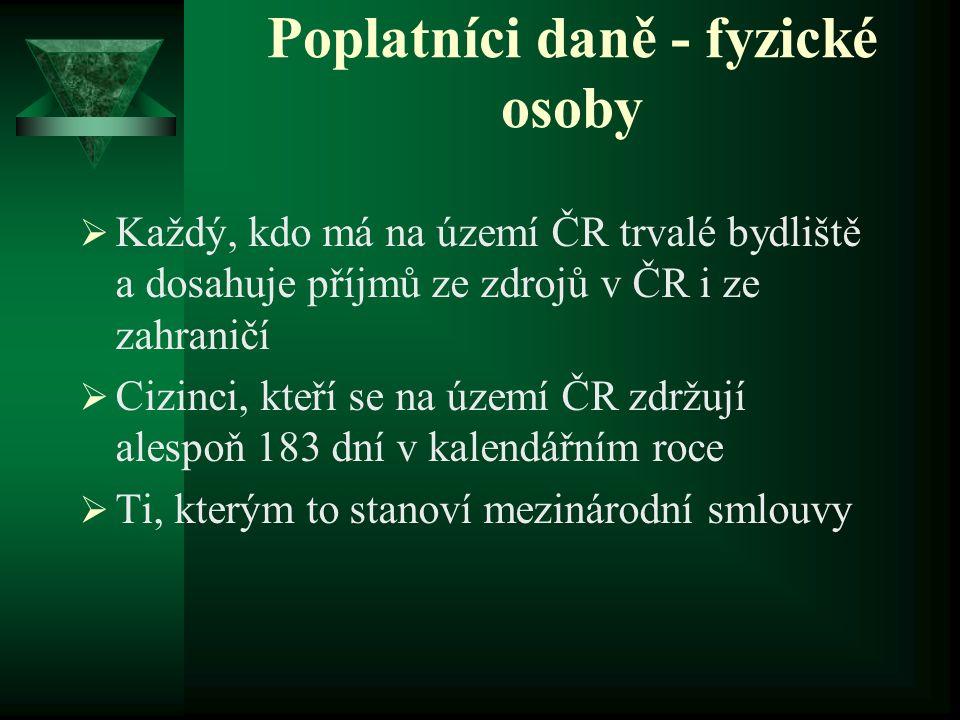 Poplatníci daně - fyzické osoby  Každý, kdo má na území ČR trvalé bydliště a dosahuje příjmů ze zdrojů v ČR i ze zahraničí  Cizinci, kteří se na úze