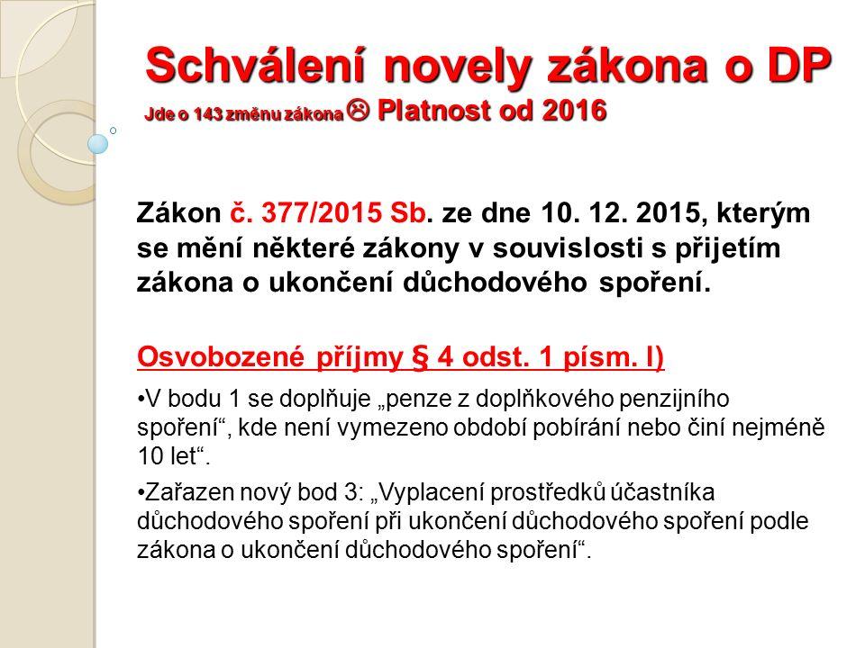 Schválení novely zákona o DP Jde o 143 změnu zákona  Platnost od 2016 Zákon č.