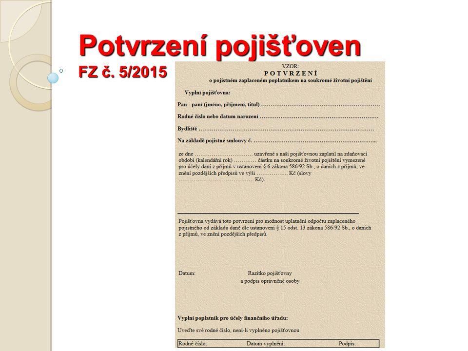 Potvrzení pojišťoven FZ č. 5/2015