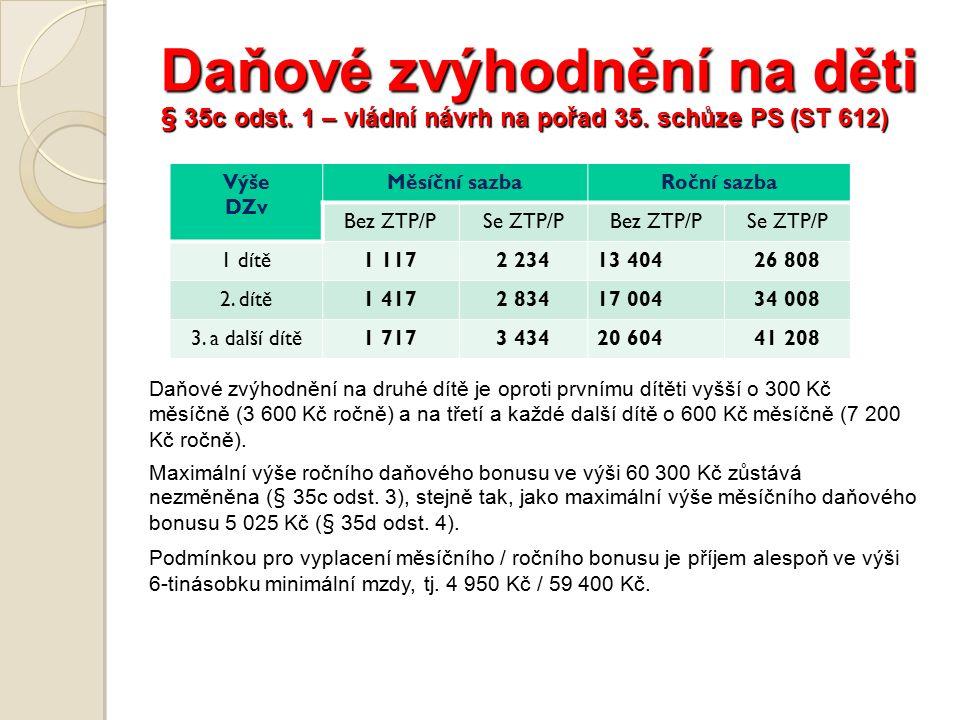 Daňové zvýhodnění na děti § 35c odst. 1 – vládní návrh na pořad 35.