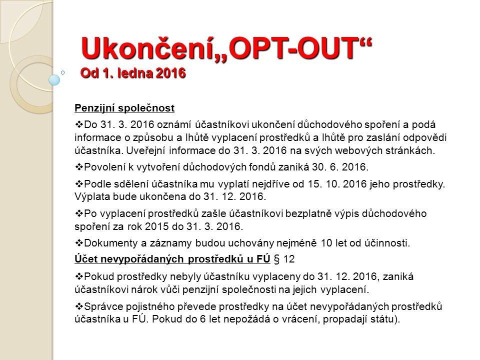 """Ukončení""""OPT-OUT Od 1. ledna 2016 Penzijní společnost  Do 31."""