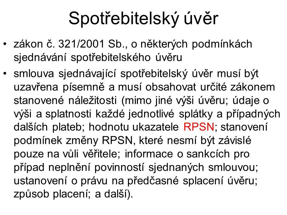 Spotřebitelský úvěr zákon č.