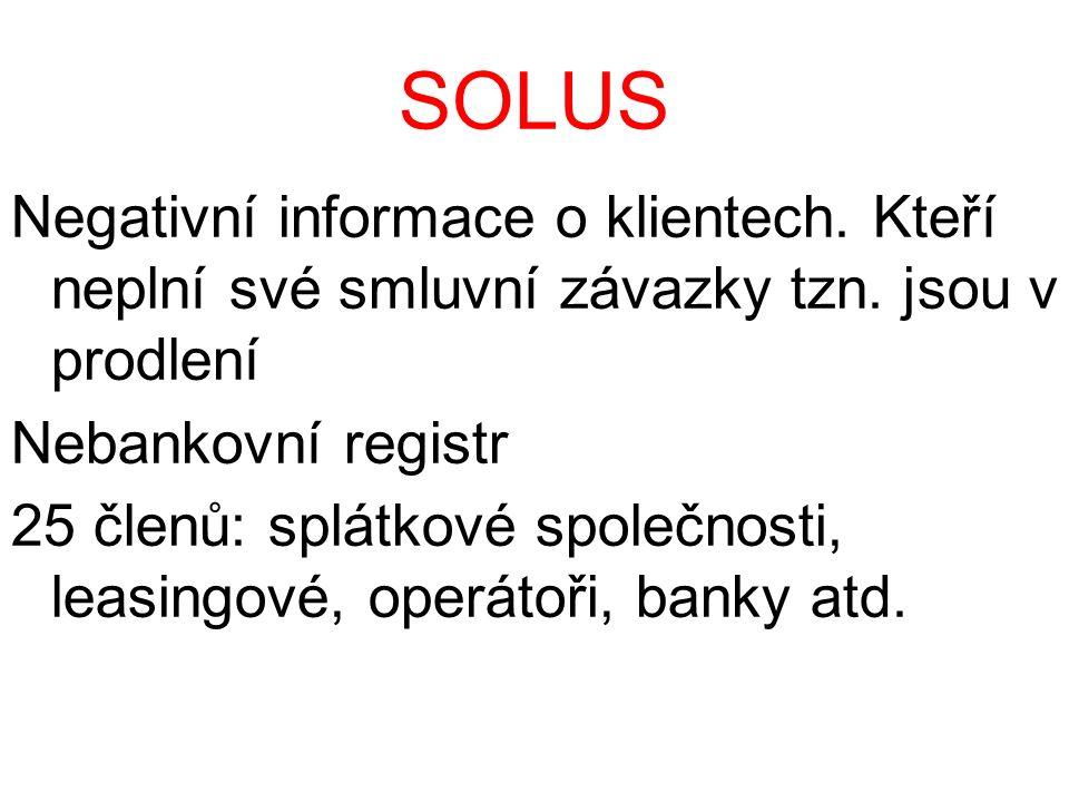 SOLUS Negativní informace o klientech. Kteří neplní své smluvní závazky tzn.