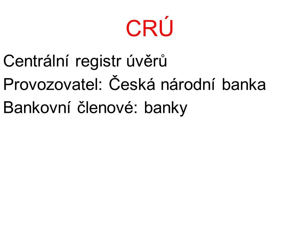 CRÚ Centrální registr úvěrů Provozovatel: Česká národní banka Bankovní členové: banky