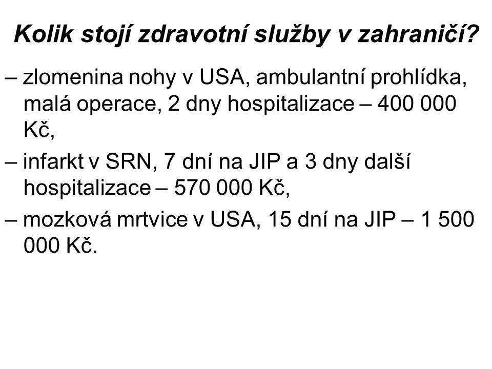 Kolik stojí zdravotní služby v zahraničí.