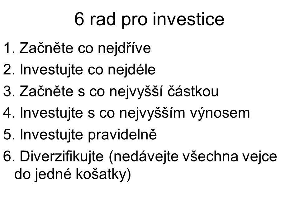 6 rad pro investice 1. Začněte co nejdříve 2. Investujte co nejdéle 3.