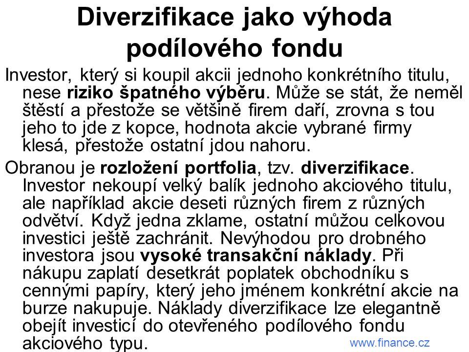 Diverzifikace jako výhoda podílového fondu Investor, který si koupil akcii jednoho konkrétního titulu, nese riziko špatného výběru.