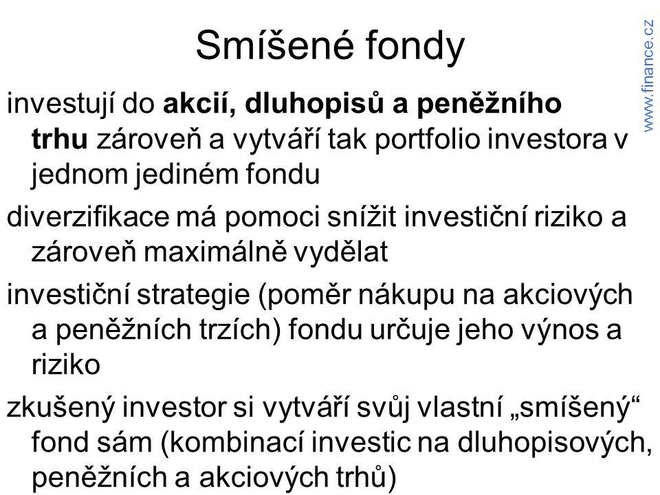 """Smíšené fondy investují do akcií, dluhopisů a peněžního trhu zároveň a vytváří tak portfolio investora v jednom jediném fondu diverzifikace má pomoci snížit investiční riziko a zároveň maximálně vydělat investiční strategie (poměr nákupu na akciových a peněžních trzích) fondu určuje jeho výnos a riziko zkušený investor si vytváří svůj vlastní """"smíšený fond sám (kombinací investic na dluhopisových, peněžních a akciových trhů) www.finance.cz"""