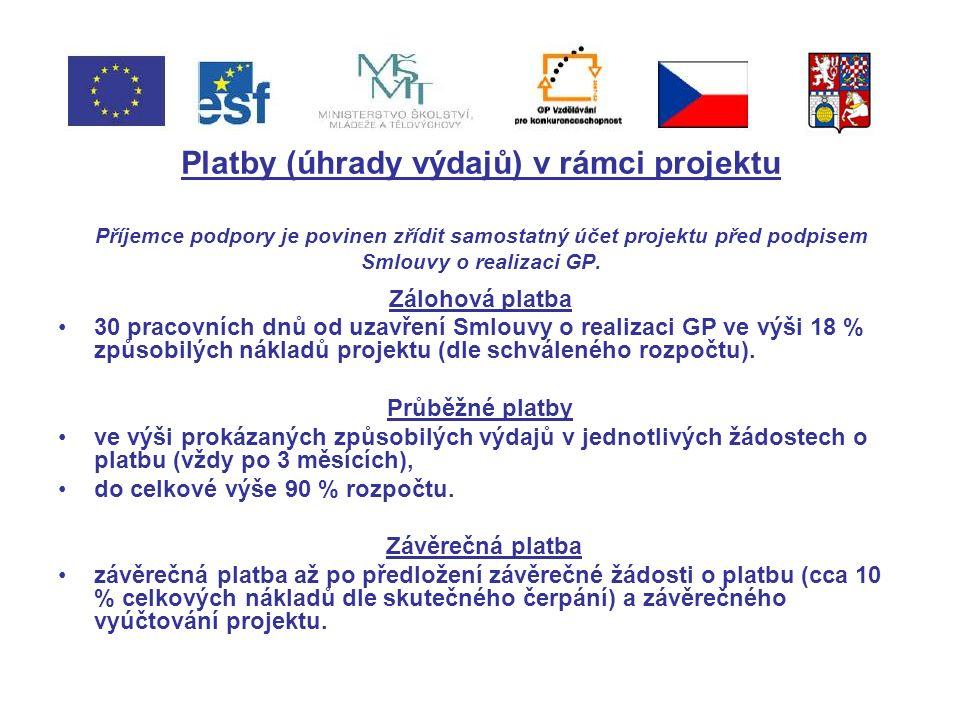 Platby (úhrady výdajů) v rámci projektu Příjemce podpory je povinen zřídit samostatný účet projektu před podpisem Smlouvy o realizaci GP.