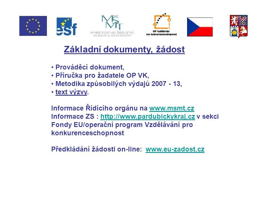 Základní dokumenty, žádost Prováděcí dokument, Příručka pro žadatele OP VK, Metodika způsobilých výdajů 2007 - 13, text výzvy.