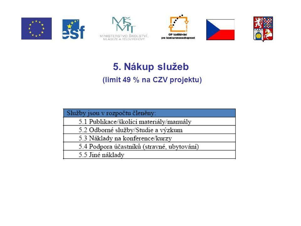 5. Nákup služeb (limit 49 % na CZV projektu)
