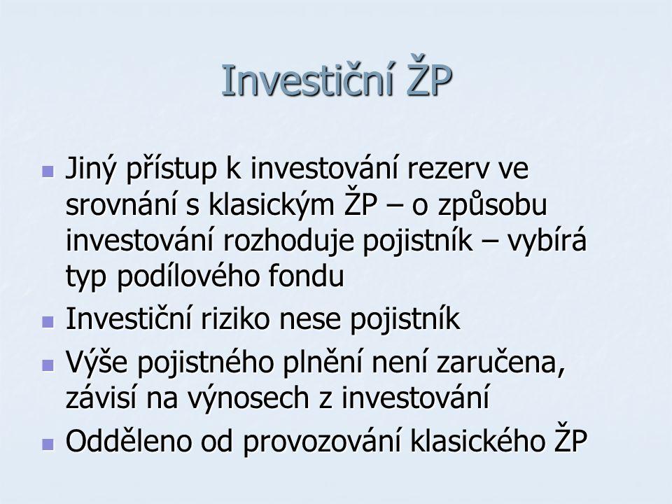 Investiční ŽP Jiný přístup k investování rezerv ve srovnání s klasickým ŽP – o způsobu investování rozhoduje pojistník – vybírá typ podílového fondu Jiný přístup k investování rezerv ve srovnání s klasickým ŽP – o způsobu investování rozhoduje pojistník – vybírá typ podílového fondu Investiční riziko nese pojistník Investiční riziko nese pojistník Výše pojistného plnění není zaručena, závisí na výnosech z investování Výše pojistného plnění není zaručena, závisí na výnosech z investování Odděleno od provozování klasického ŽP Odděleno od provozování klasického ŽP