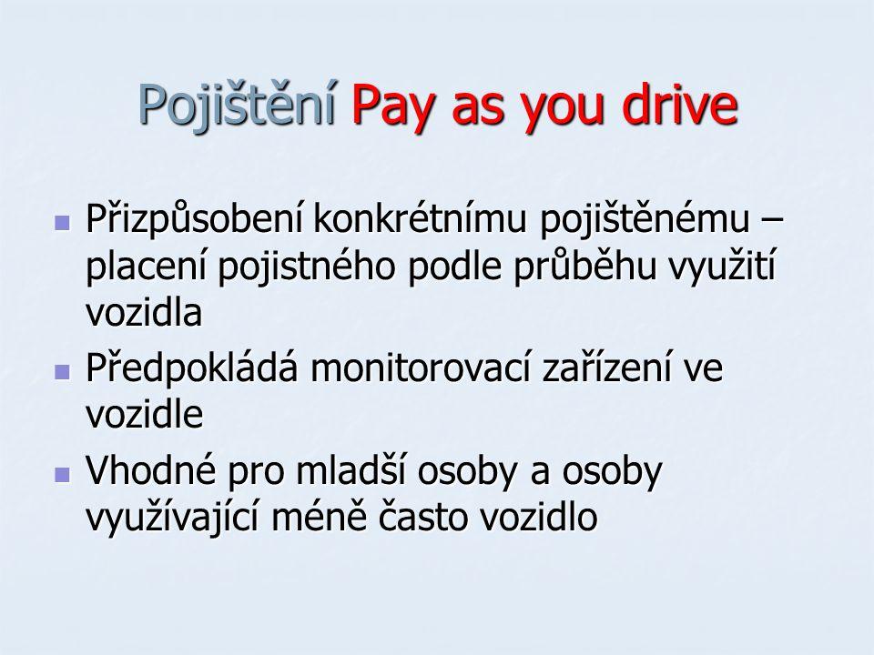 Pojištění Pay as you drive Přizpůsobení konkrétnímu pojištěnému – placení pojistného podle průběhu využití vozidla Přizpůsobení konkrétnímu pojištěnému – placení pojistného podle průběhu využití vozidla Předpokládá monitorovací zařízení ve vozidle Předpokládá monitorovací zařízení ve vozidle Vhodné pro mladší osoby a osoby využívající méně často vozidlo Vhodné pro mladší osoby a osoby využívající méně často vozidlo