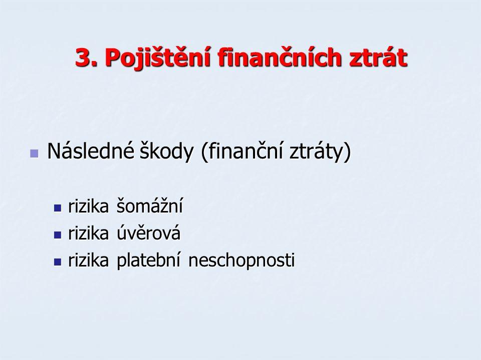 3. Pojištění finančních ztrát Následné škody (finanční ztráty) Následné škody (finanční ztráty) rizika šomážní rizika šomážní rizika úvěrová rizika úv