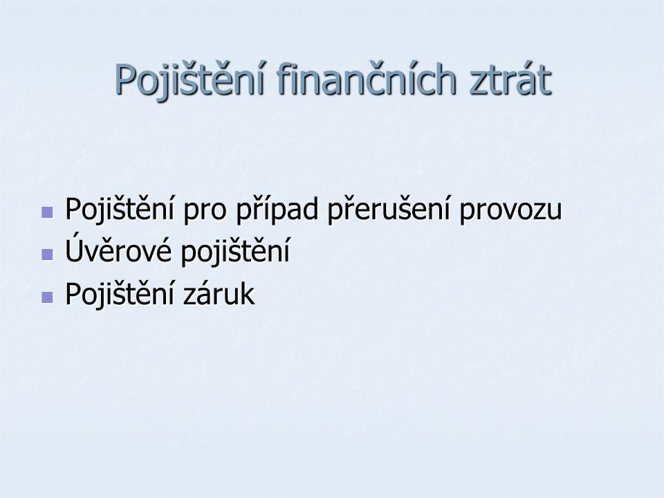 Pojištění finančních ztrát Pojištění pro případ přerušení provozu Pojištění pro případ přerušení provozu Úvěrové pojištění Úvěrové pojištění Pojištění záruk Pojištění záruk