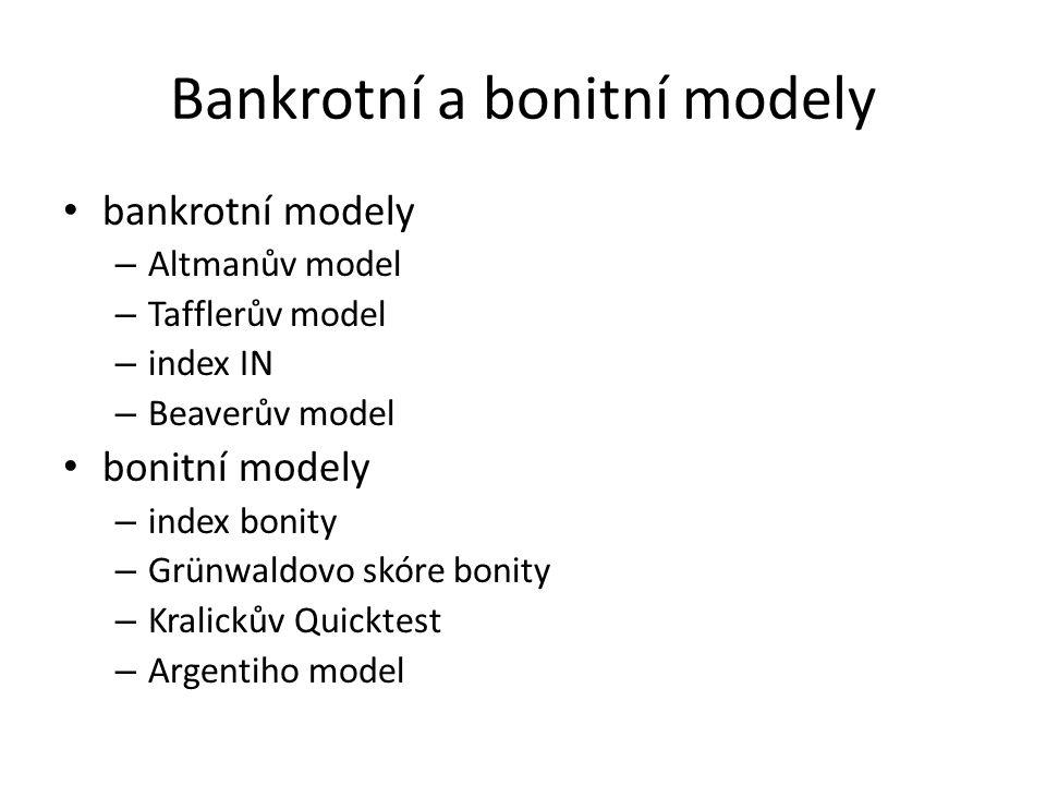 Bankrotní a bonitní modely bankrotní modely – Altmanův model – Tafflerův model – index IN – Beaverův model bonitní modely – index bonity – Grünwaldovo skóre bonity – Kralickův Quicktest – Argentiho model