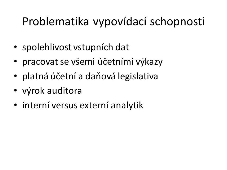 Problematika vypovídací schopnosti spolehlivost vstupních dat pracovat se všemi účetními výkazy platná účetní a daňová legislativa výrok auditora interní versus externí analytik