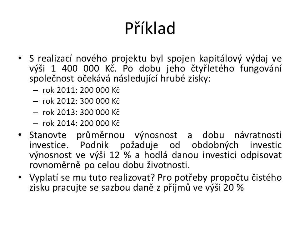 Příklad S realizací nového projektu byl spojen kapitálový výdaj ve výši 1 400 000 Kč.