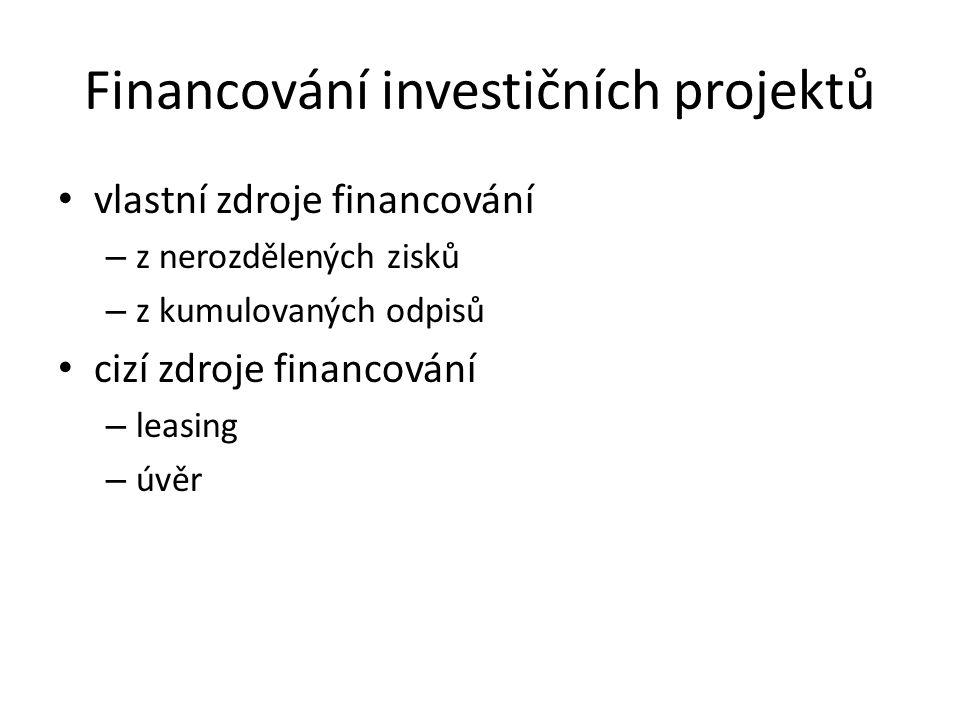 Financování investičních projektů vlastní zdroje financování – z nerozdělených zisků – z kumulovaných odpisů cizí zdroje financování – leasing – úvěr