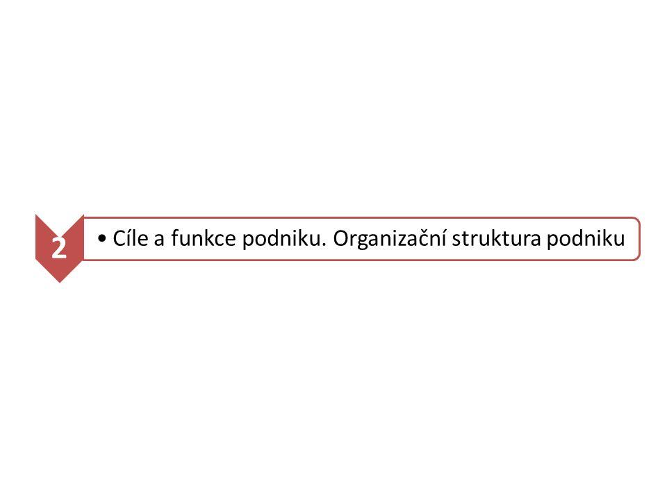 2 Cíle a funkce podniku. Organizační struktura podniku