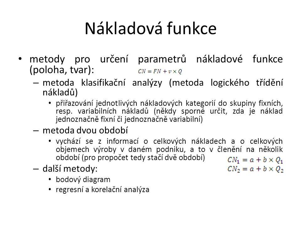Nákladová funkce metody pro určení parametrů nákladové funkce (poloha, tvar): – metoda klasifikační analýzy (metoda logického třídění nákladů) přiřazo