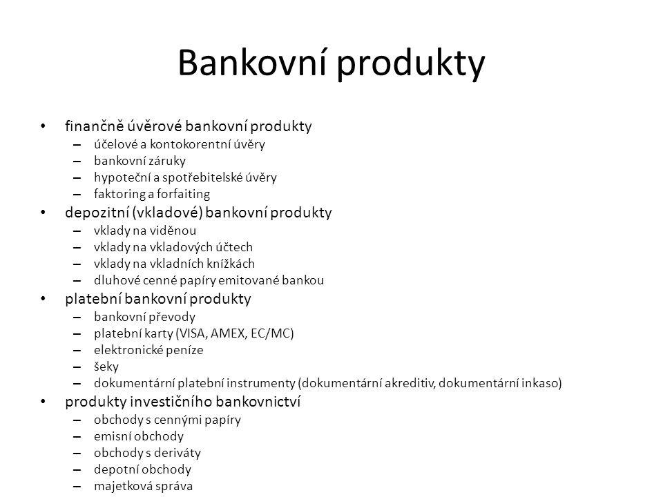Bankovní produkty finančně úvěrové bankovní produkty – účelové a kontokorentní úvěry – bankovní záruky – hypoteční a spotřebitelské úvěry – faktoring a forfaiting depozitní (vkladové) bankovní produkty – vklady na viděnou – vklady na vkladových účtech – vklady na vkladních knížkách – dluhové cenné papíry emitované bankou platební bankovní produkty – bankovní převody – platební karty (VISA, AMEX, EC/MC) – elektronické peníze – šeky – dokumentární platební instrumenty (dokumentární akreditiv, dokumentární inkaso) produkty investičního bankovnictví – obchody s cennými papíry – emisní obchody – obchody s deriváty – depotní obchody – majetková správa
