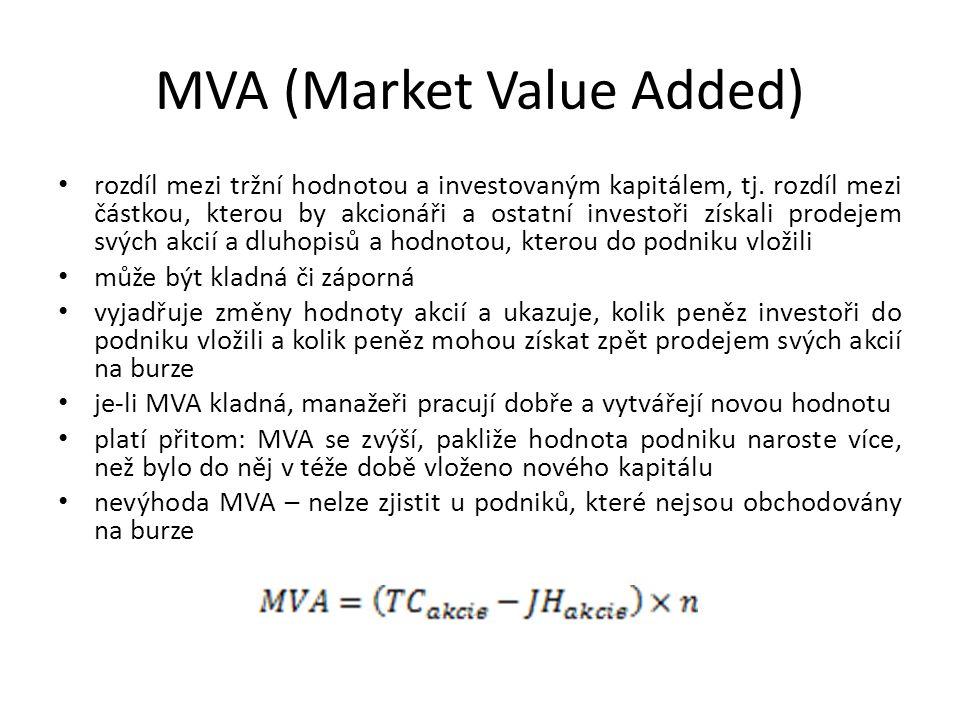 MVA (Market Value Added) rozdíl mezi tržní hodnotou a investovaným kapitálem, tj. rozdíl mezi částkou, kterou by akcionáři a ostatní investoři získali
